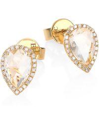 EF Collection | Teardrop Diamond & White Topaz Stud Earrings | Lyst