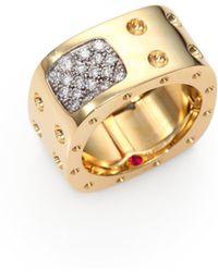 Roberto Coin - Pois Moi Diamond & 18k Yellow Gold Two-row Square Ring - Lyst