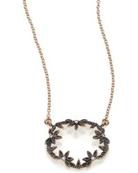 Mizuki - Diamond & 14k Blackened Gold Small Open Petal Necklace - Lyst