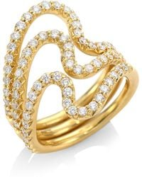 Carelle - Brushstroke Diamond & 18k Yellow Gold N° 22 Ring Set - Lyst