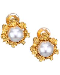 Kenneth Jay Lane - 12mm Round Simulated Faux Pearl Stud Earrings - Lyst