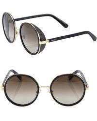 4d4fba226e8 Jimmy Choo - Women s 54mm Andie Glitter-trim Round Sunglasses - Gold  Tortoise - Lyst