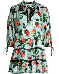 a217b71b7dc4 Alice + Olivia - Arnette Tiered Floral Tunic Dress - Lyst