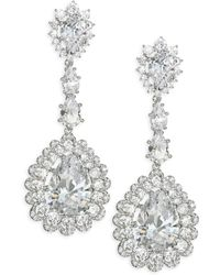 Adriana Orsini - Scalloped Crystal Teardrop Earrings - Lyst