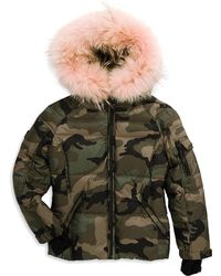 Sam. - Boy's Blake Camouflage Coyote Fur-trim Down Puffer Jacket - Lyst