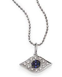 Sydney Evan - Diamond, Sapphire & 14k White Gold Small Evil Eye Pendant Necklace - Lyst