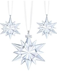 Swarovski - Set Of Three Star Crystal Ornaments - Lyst