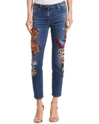 Roberto Cavalli - Cropped Butterfly Jeans - Lyst