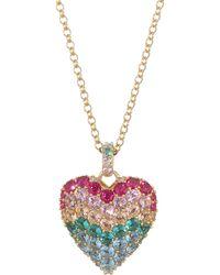Adriana Orsini - Valentine 18k Goldplated Silver & Multicolor Cystal Heart Pendant Necklace - Lyst