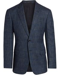 Giorgio Armani - Spider-web Mélange Single-breasted Wool Jacket - Lyst