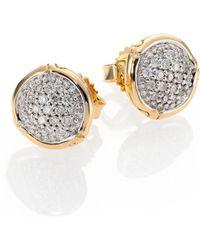 John Hardy - Bamboo Diamond & 18k Yellow Gold Stud Earrings - Lyst