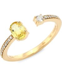Hueb - Spectrum Diamond, Yellow Sapphire & 18k Yellow Gold Open Ring - Lyst
