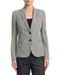 Akris Punto - Striped Denim Blazer - Lyst