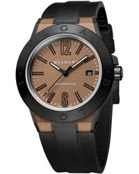 BVLGARI - Diagono Magnesium & Rubber Strap Watch - Lyst