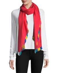 Franco Ferrari - Twill Distressed Solid Silk Fringe Scarf - Lyst