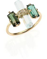 Jacquie Aiche - Green Tourmaline, Aquamarine, Diamond & 14k Yellow Gold Bar Ring - Lyst