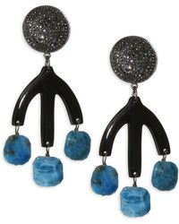 Nest - Pavé Horn Teal Apatite Drop Earrings - Lyst