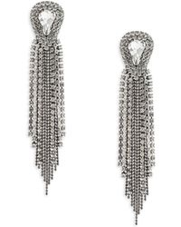 ABS By Allen Schwartz - Black Magic Rhinestone Fringe Earrings - Lyst