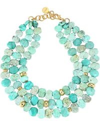 Nest - 22k Goldplated & Chrysotine Triple Strand Necklace - Light Green - Lyst
