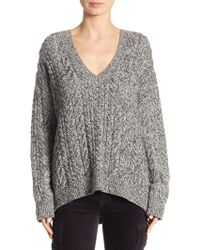 Vince   Cable-knit V-neck Sweater   Lyst
