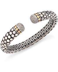 John Hardy - Dot Diamond, 18k Yellow Gold & Sterling Silver Kick Cuff Bracelet - Lyst