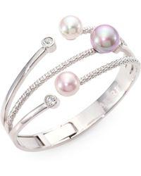 Majorica - 10mm-12mm Multicolor Round Pearl Bangle Bracelet - Lyst