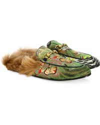 2c56ab5493a Gucci - Men s Princetown Dragon Jacquard   Fur Slippers - Green - Size 8 Uk  (
