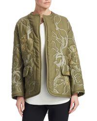 Oscar de la Renta - Bead Embroidered Cotton Jacket - Lyst