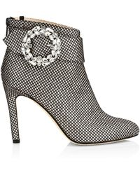 SJP by Sarah Jessica Parker Jewelled Buckle Glittered Ankle Boots - Black