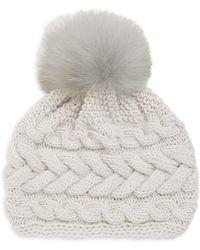 Inverni - Beatrice Fox Fur Pom Pom Cable Knit Beanie - Lyst