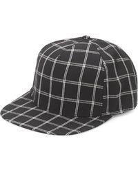 978b6ebc2a6cc Gents - Men s Flat-brim Check-print Baseball Cap - Black - Lyst