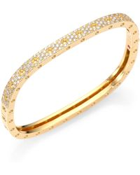 Roberto Coin - Pois Moi Pave Diamond & 18k Yellow Gold Single-row Bangle Bracelet - Lyst
