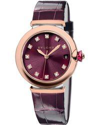 BVLGARI | Lvcea Diamond, Rose Goldtone Stainless Steel & Alligator Strap Watch | Lyst