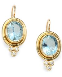 Temple St. Clair - Classic Color Aquamarine, Diamond & 18k Yellow Gold Oval Drop Earrings - Lyst