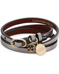 Alexander McQueen - Gunmetal Leather Wrap Bracelet - Lyst