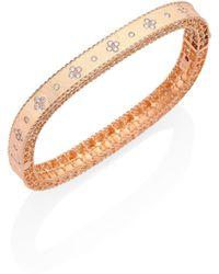 Roberto Coin | Princess Diamond & 18k Rose Gold Bangle Bracelet | Lyst