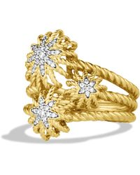 David Yurman - Starburst Cluster Ring With Diamonds In Gold - Lyst