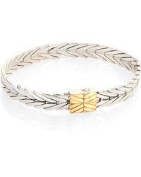 """John Hardy - Modern Chain 18k Yellow Gold & Sterling Silver Bracelet/0.31"""" - Lyst"""