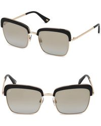 Web - 55mm Black & Rose Gold Square Sunglasses - Lyst