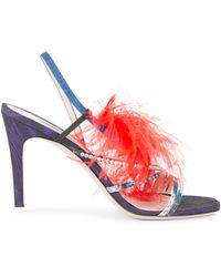 ff8bc248656a Lyst - Jimmy Choo Laurita Feather-print 135mm Sandal in Yellow