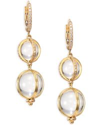 Temple St. Clair - Double Amulet, Rock Crystal, Diamond & 18k Yellow Gold Drop Earrings - Lyst