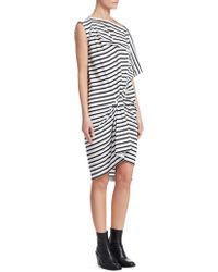 Junya Watanabe - Striped Cotton Asymmetrical Gathered Dress - Lyst