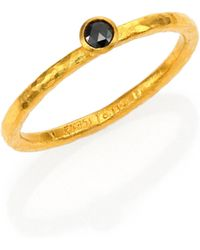 Gurhan - Delicacies Black Diamond & 24k Yellow Gold Stackable Ring - Lyst