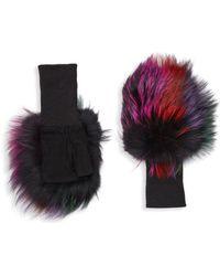 Glamourpuss - Fox Fur & Suede Fingerless Gloves - Lyst