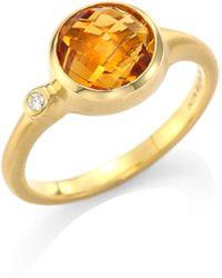 Carelle - Orange Citrine & Diamond 18k Yellow Gold Stack Ring - Lyst