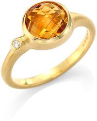 Carelle | Orange Citrine & Diamond Stack Ring | Lyst