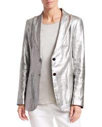 Fabiana Filippi - Metallic Linen Two-button Blazer - Lyst