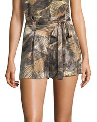 L'Agence - Alex Palm Print Silk Shorts - Lyst