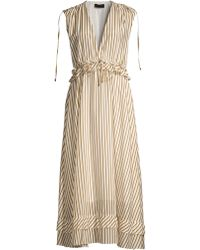 Robert Rodriguez Mariel Striped Cotton Midi Dress - Metallic