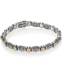 Konstantino - Women's Hermione 18k Yellow Gold & Sterling Silver Etched Bracelet - Silver Gold - Lyst